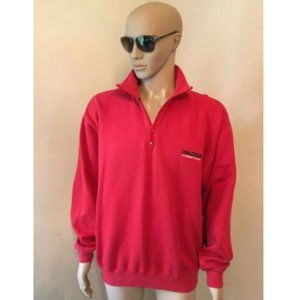 Vintage Nautica Red Zip Up Fleece Sweater Pullover
